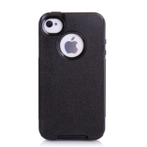 PC + TPU Shockproof and Drop-resistant Shield Case for iPhone 4s 4 - Black