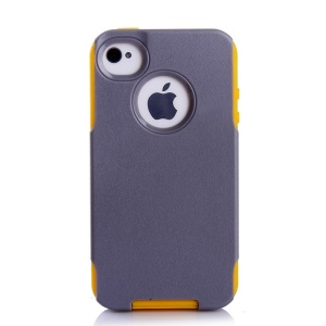 PC + TPU Shockproof and Drop-resistant Shell for iPhone 4s 4 - Yellow / Grey