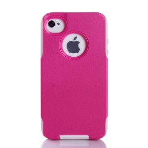 For iPhone 4s 4 PC + TPU Shockproof and Drop-resistant Shell - White / Rose