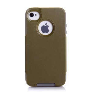 For iPhone 4s 4 PC + TPU Shockproof and Drop-resistant Case - Grey / Army Green