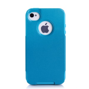 For iPhone 4s 4 PC + TPU Shockproof and Drop-resistant Case Cover - Light Blue