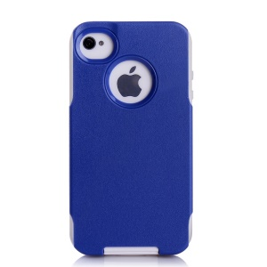 For iPhone 4s 4 PC + TPU Shockproof and Drop-resistant Cover - White / Deep Blue