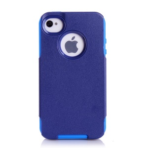 For iPhone 4s 4 PC + TPU Shockproof and Drop-resistant Case - Light Blue / Deep Blue