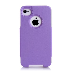For iPhone 4s 4 PC + TPU Shockproof and Drop-resistant Combo Case - White / Purple