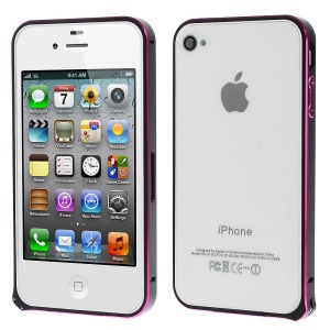 LOVE MEI Two-tone Backless Metal Bumper Frame for iPhone 4s 4 - Black / Rose