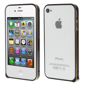 LOVE MEI Two-tone Backless Metal Bumper Frame for iPhone 4s 4 - Black / Gold