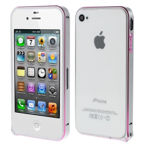 LOVE MEI Two-tone Backless Metal Bumper Cover for iPhone 4s 4 - Grey / Rose