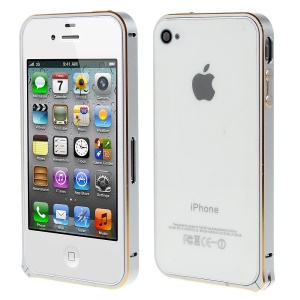 LOVE MEI Two-tone Backless Metal Bumper Cover for iPhone 4s 4 - Grey / Gold