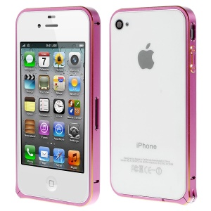 LOVE MEI Two-tone Backless Metal Bumper Case for iPhone 4s 4 - Pink
