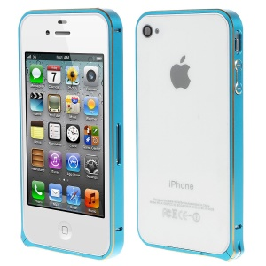 LOVE MEI Two-tone Backless Metal Bumper Case for iPhone 4s 4 - Light Blue