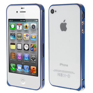 LOVE MEI Two-tone Backless Metal Bumper Case for iPhone 4s 4 - Dark Blue