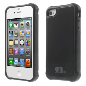For iPhone 4s 4 TPU + PC Combo Back Case - Black