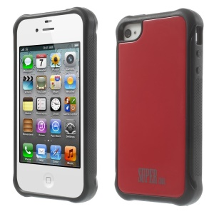 For iPhone 4s 4 TPU + PC Combo Back Case Cover - Red
