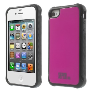 For iPhone 4s 4 TPU + PC Combo Back Case Shell - Rose