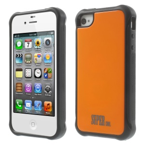 Orange for iPhone 4s 4 TPU + PC Hybrid Phone Cover Shell