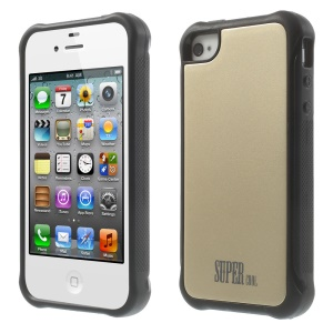 Gold for iPhone 4s 4 TPU + PC Hybrid Phone Case