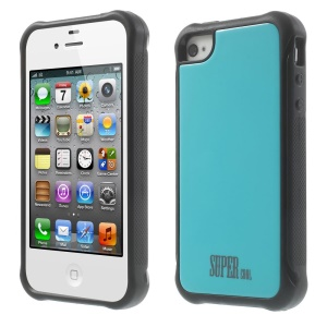 TPU + PC Hybrid Protective Cover for iPhone 4s 4 - Blue