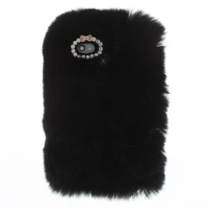 Fashionable Warm Genuine Rabbit Fur Protective Back Case for iPhone 4s 4 - Black