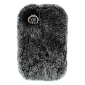 Fashionable Warm Genuine Rabbit Fur Back Hard Case for iPhone 4s 4 - Grey