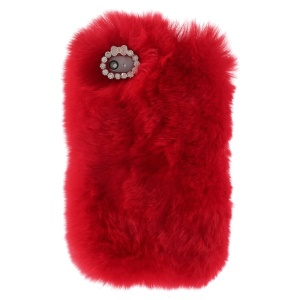 Fashionable Warm Genuine Rabbit Fur Back Hard Cover for iPhone 4s 4 - Red