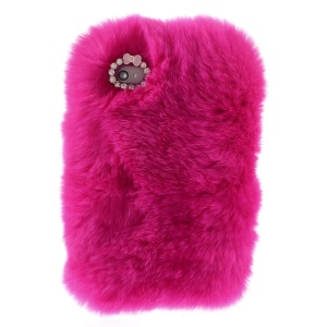Fashionable Warm Genuine Rabbit Fur Back Cover for iPhone 4s 4 - Rose