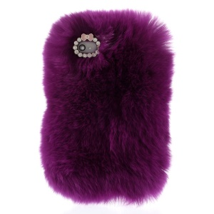 Stylish Warm Genuine Rabbit Fur Back Cover Shell for iPhone 4s 4 - Dark Purple