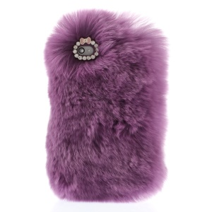 Stylish Warm Genuine Rabbit Fur Back Cover for iPhone 4s 4 - Light Purple