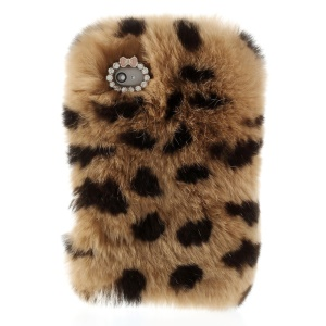 Stylish Warm Genuine Rabbit Fur Hard Back Case for iPhone 4s 4 - Brown