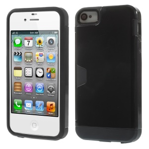 Detachable 2 in 1 PC + TPU Hybrid Protective Shell for iPhone 4s 4 - Black