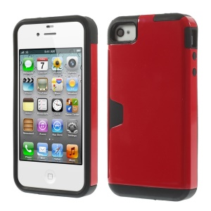 Detachable 2 in 1 PC + TPU Combo Case for iPhone 4s 4 - Red