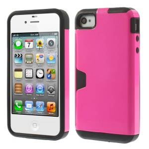 Detachable 2 in 1 PC + TPU Combo Back Case for iPhone 4s 4 - Rose