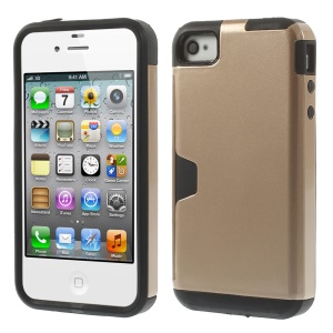 Detachable 2 in 1 PC + TPU Combo Back Cover for iPhone 4s 4 - Champagne