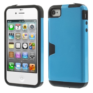 Detachable 2 in 1 PC + TPU Combo Shell Case for iPhone 4s 4 - Blue