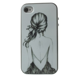 Naked Girl Detachable PC Frame + TPU Hybrid Case Shell for iPhone 4s 4