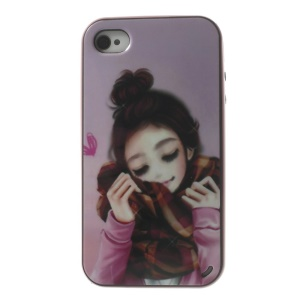 Girl Wearing a Scarf Detachable PC Frame + TPU Hybrid Shell for iPhone 4s 4