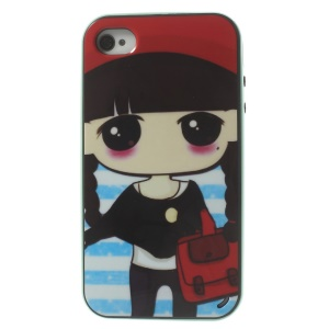 Cute Girl Holding a Bag Detachable PC Frame + TPU Hybrid Case Cover for iPhone 4s 4