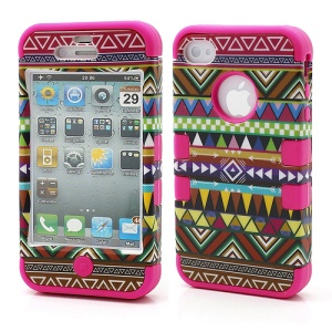 3-Piece Tribal Tribe Stripe High Impact Combo Hybrid Case for iPhone 4 4S - Rose