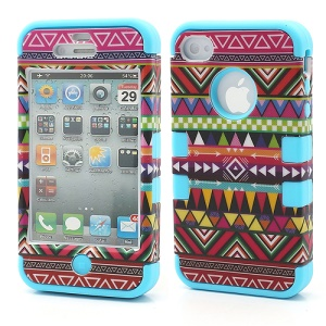 3-Piece Tribal Tribe Stripe High Impact Combo Hybrid Case for iPhone 4 4S - Blue