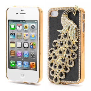 Bling Diamond 3D Peacock Leather Coated Plated Hard Case for iPhone 4 4S - Black