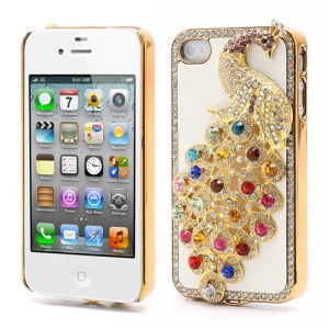 Bling Diamond 3D Peacock Leather Coated Plated Hard Case for iPhone 4 4S - White