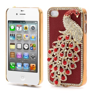 Bling Diamond 3D Peacock Leather Coated Plated Hard Case for iPhone 4 4S - Red