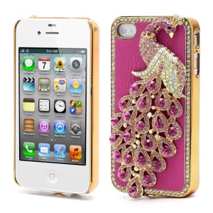 Bling Diamond 3D Peacock Leather Coated Plated Hard Case for iPhone 4 4S - Rose