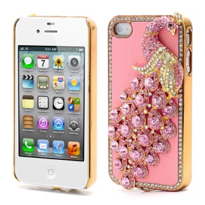 Bling Diamond 3D Peacock Leather Coated Plated Hard Case for iPhone 4 4S - Pink