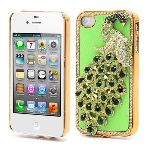 Bling Diamond 3D Peacock Leather Coated Plated Hard Case for iPhone 4 4S - Green