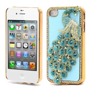 Bling Diamond 3D Peacock Leather Coated Plated Hard Case for iPhone 4 4S - Baby Blue