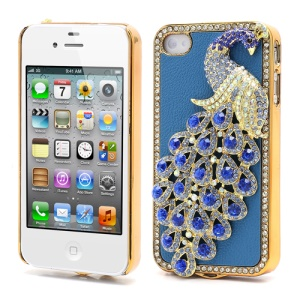 Bling Diamond 3D Peacock Leather Coated Plated Hard Case for iPhone 4 4S - Dark Blue