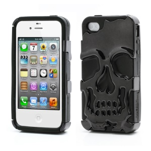 Skeleton Skull Head Silicone &amp; Plastic Plating Hybrid Case for iPhone 4 4S - Black