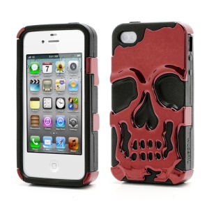 Skeleton Skull Head Silicone &amp; Plastic Plating Hybrid Case for iPhone 4 4S - Black / Red