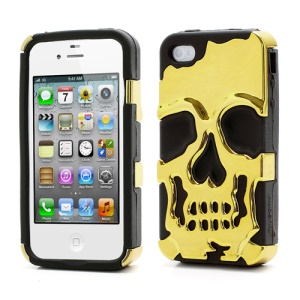 Skeleton Skull Head Silicone &amp; Plastic Plating Hybrid Case for iPhone 4 4S - Black / Gold