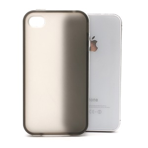Frosted Flexible TPU Jelly Case Cover w/ Removable Plastic Rim for iPhone 4 4S - White / Grey